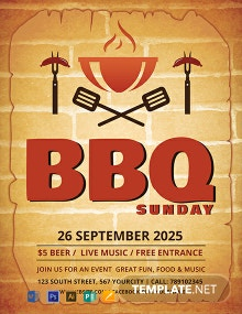 Free BBQ Sunday Flyer Template