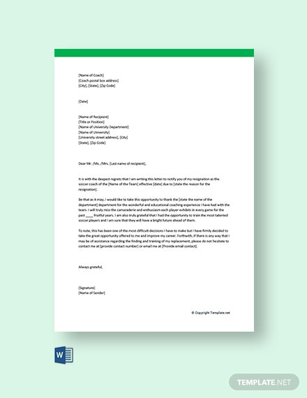 Free Coach Resignation Letter Template