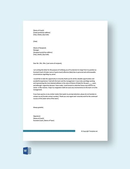 Coaching Resignation Letter