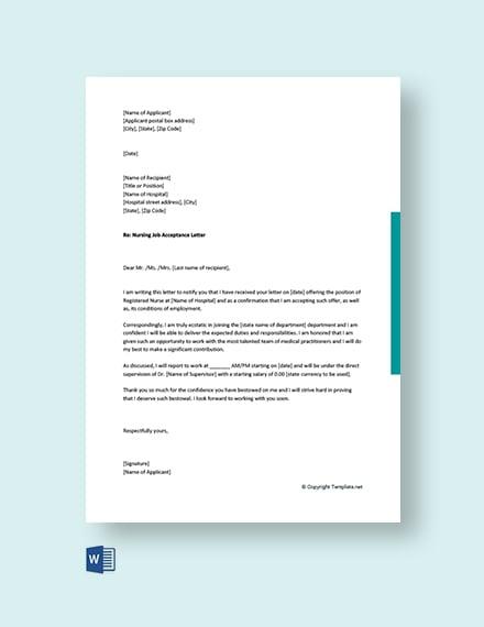 Nursing Job Acceptance Letter