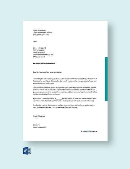 Free Nursing Job Acceptance Letter