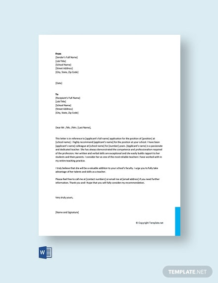 Free Recommendation Letter for Colleague Teacher