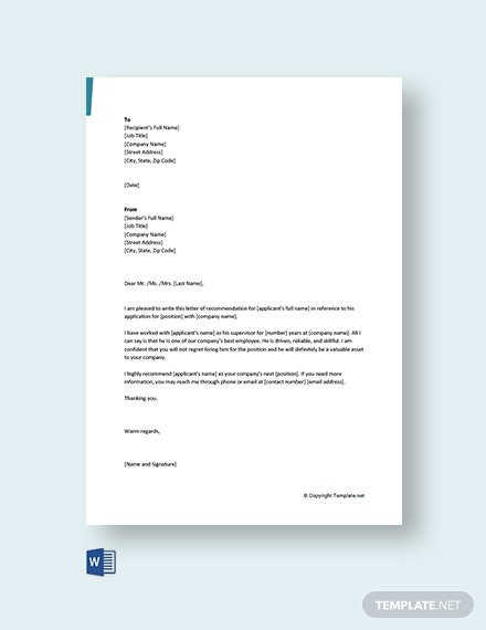 Free Short Recommendation Letter for Colleague