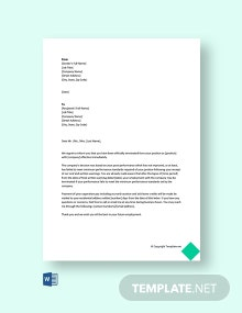 Free Termination Letter Due to Poor Performance