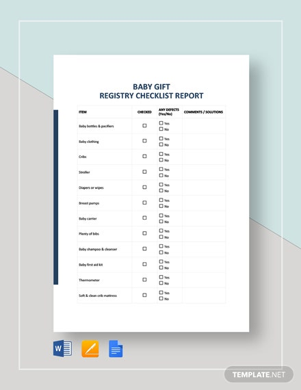 Baby Gift Registry Checklist Template