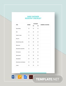 Baby Shower Registry Checklist Template