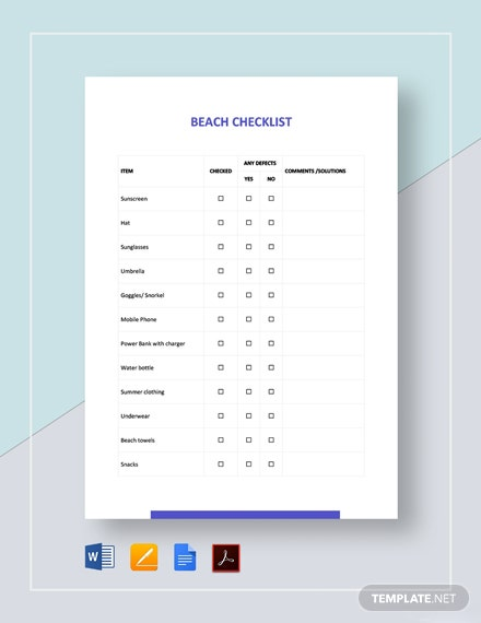 Beach Checklist Template