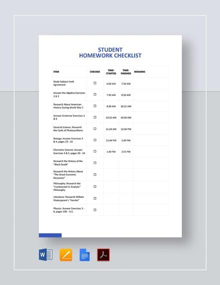 Blank Student Checklist Template