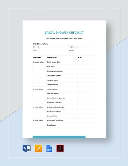 Bridal Shower Checklist Template