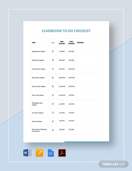 Classroom Checklist Template