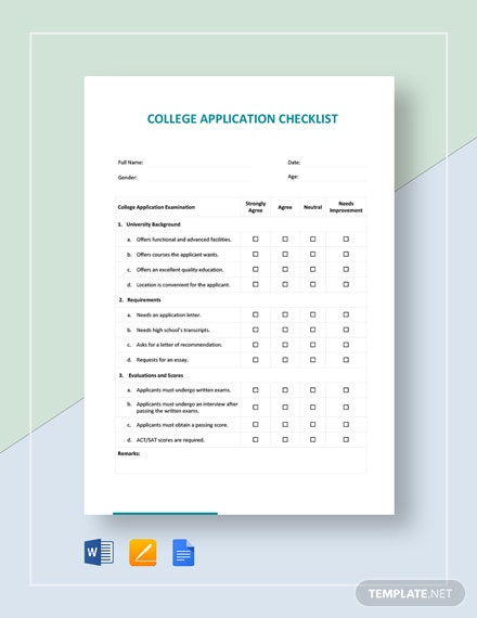 College Application Checklist Template