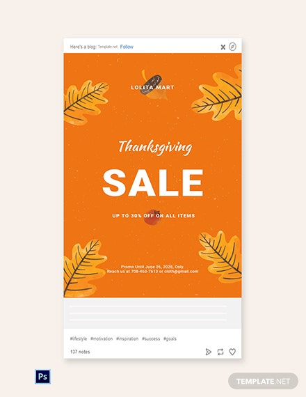 Free Holiday Special Sale Tumblr Post Template