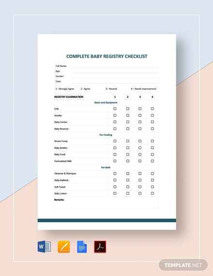 Complete Baby Registry Checklist Template