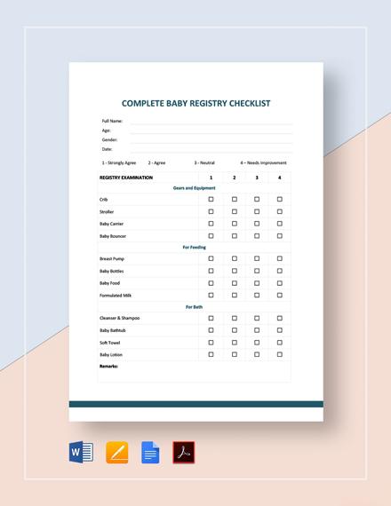 Complete Baby Registry Checklist Template