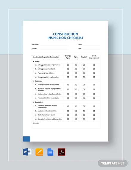 Construction Inspection Checklist