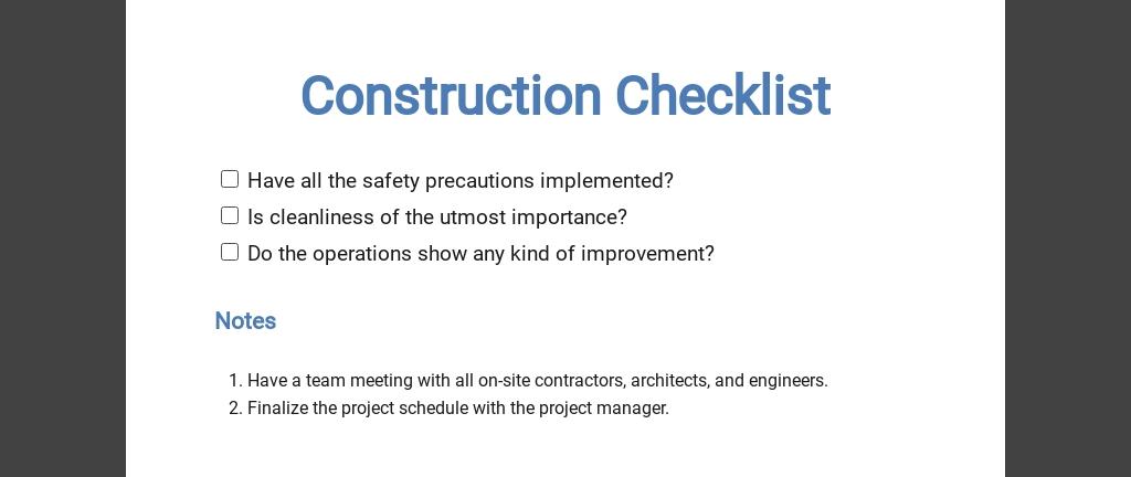 Construction Inspection Checklist Template