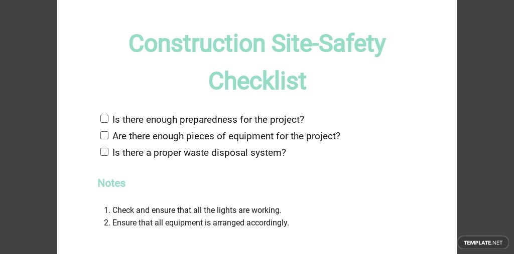 Construction Site Safety Checklist Template