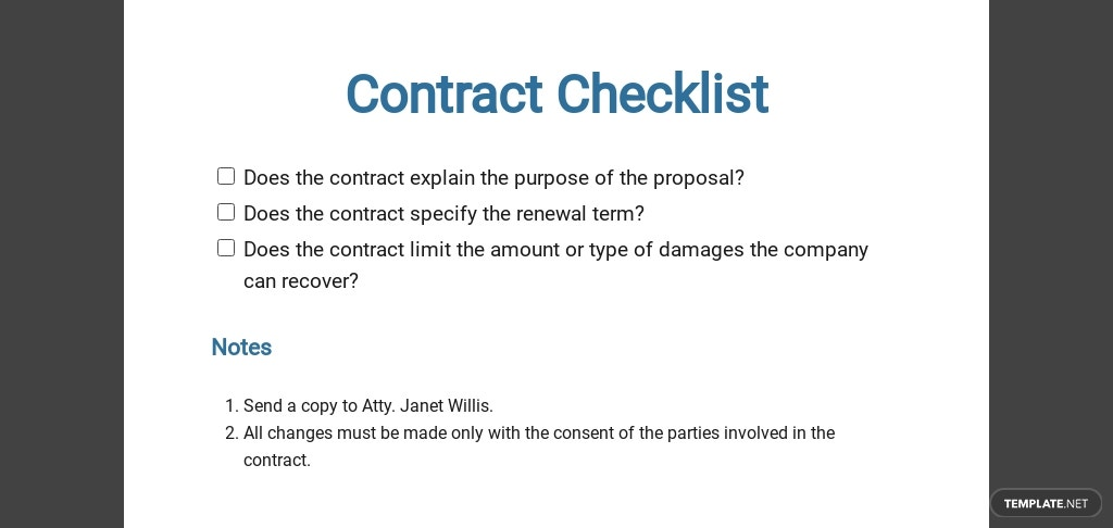 Contract Checklist Template