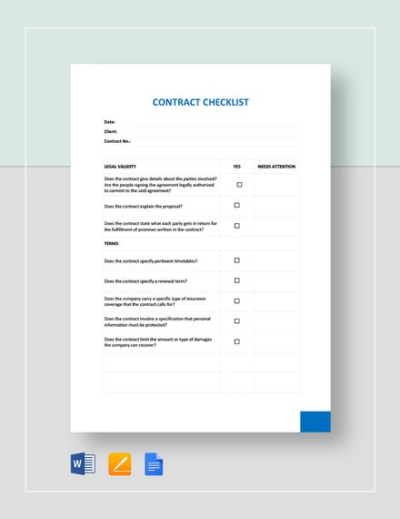 Contract Checklist Template