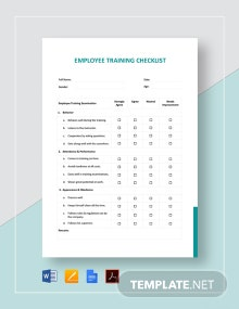 Employee Training Checklist Template