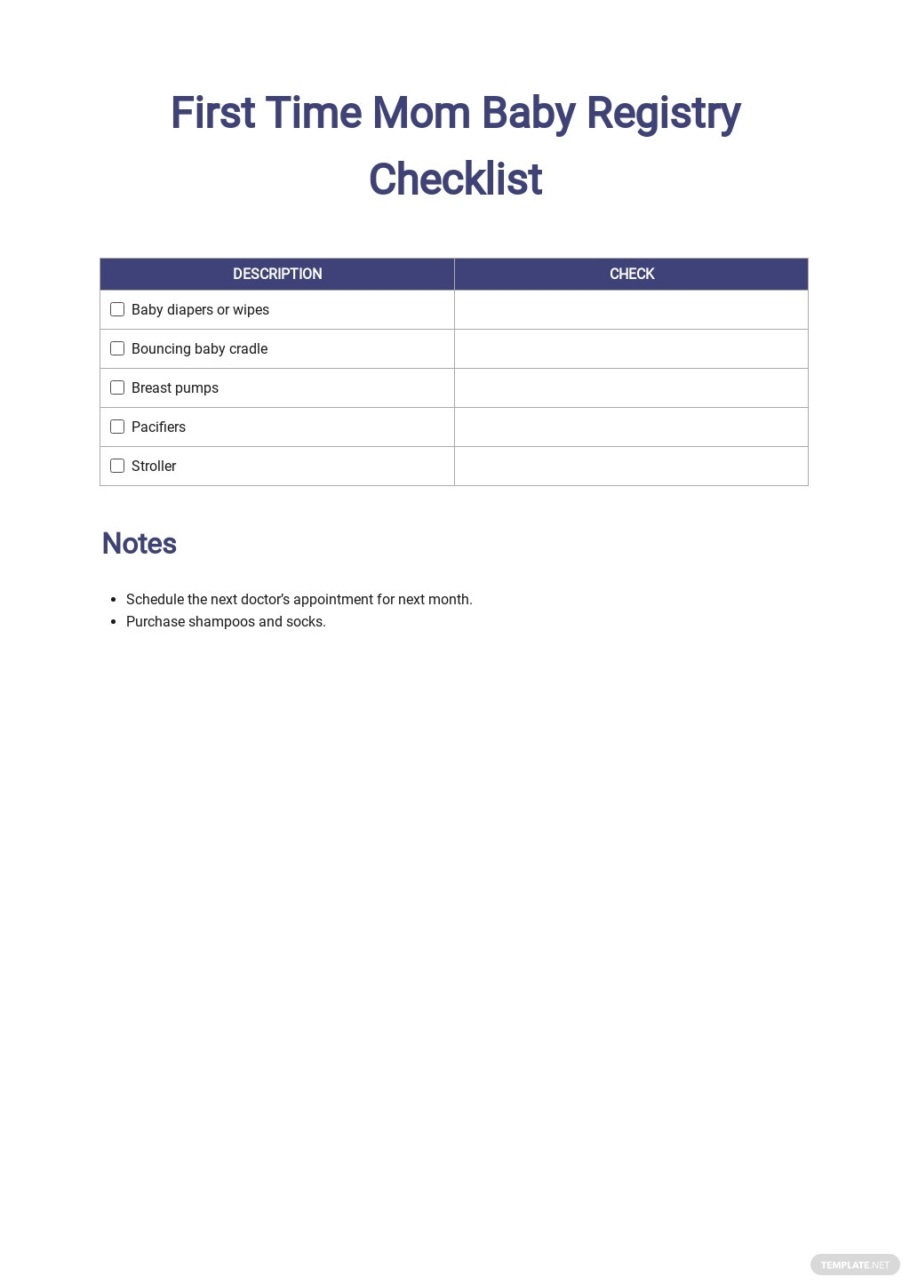 First Time Mom Baby Registry Checklist Template