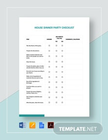 House Dinner Party Checklist Template