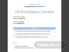 HR Due Diligence Checklist Template