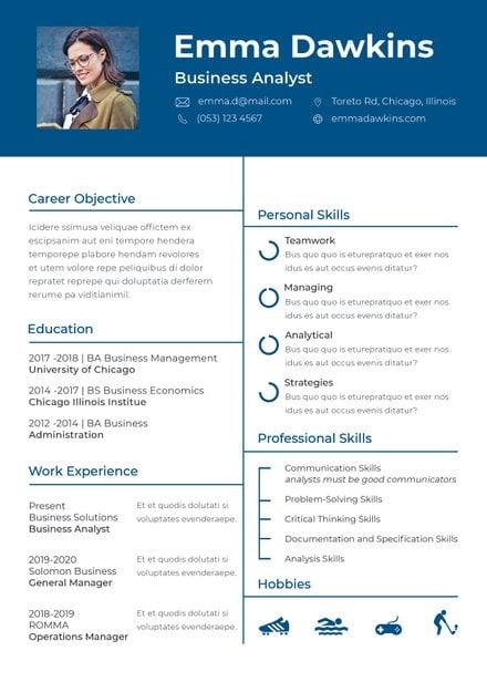 Free Basic Analyst Resume Template