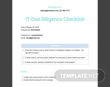 IT Due Diligence Checklist Template