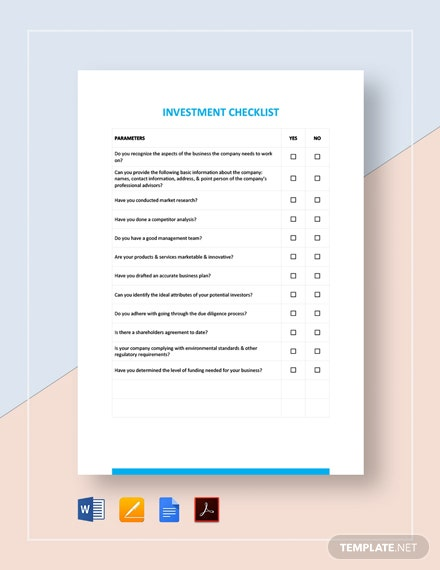 Investment Checklist Template