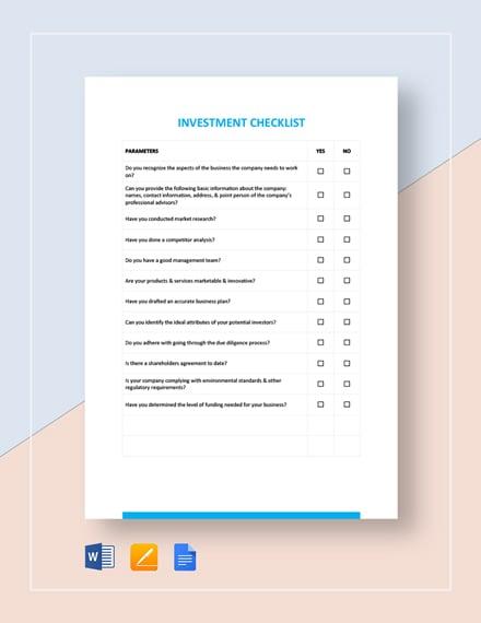 Investment Checklist Template