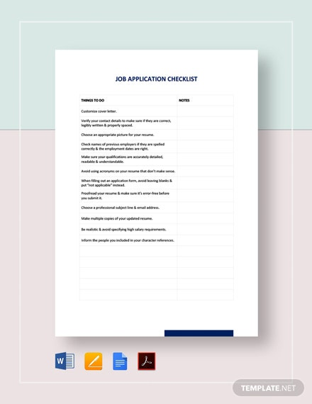 Job Application Checklist Template