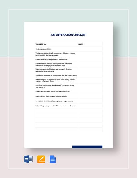 Job Application Checklist Template