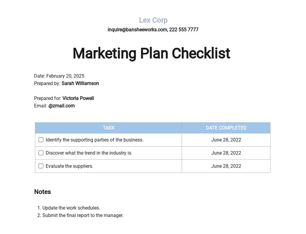 Marketing Plan Checklist Form Template