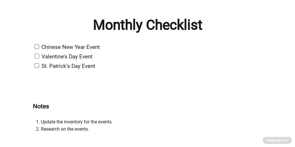 Monthly Checklist Template