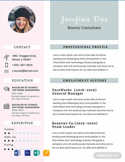 free beauty consultant resume template