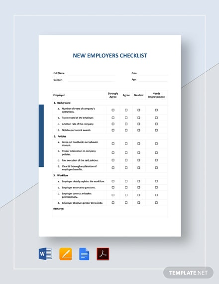 New Employers Checklist Template