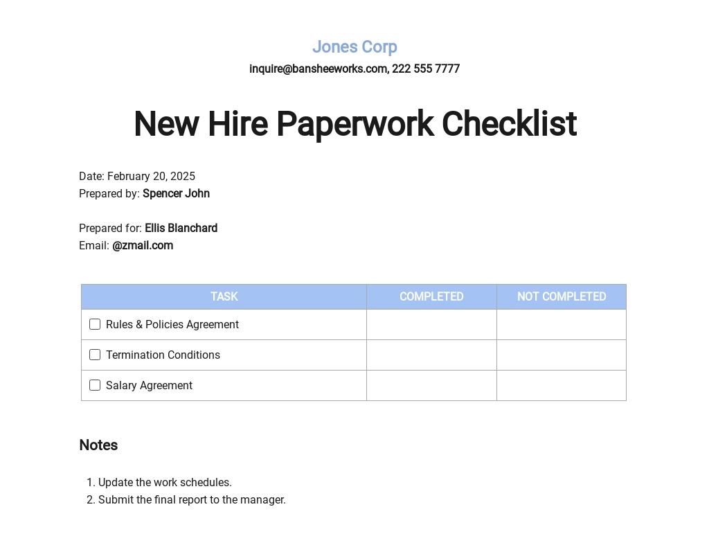 New Hire Paperwork Checklist Template
