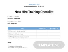 New Hire Training Checklist Template
