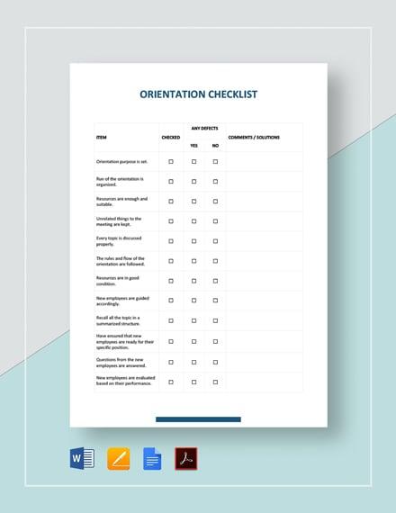 Orientation Checklist Template