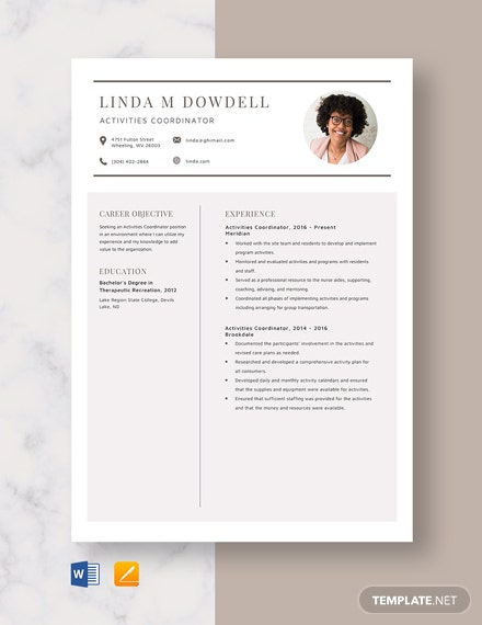 Activities Coordinator Resume Template
