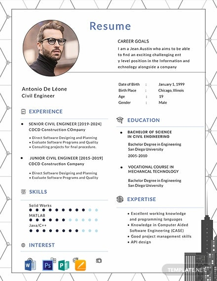 free civil engineer resume template  download 2056  resume templates in psd  word  publisher