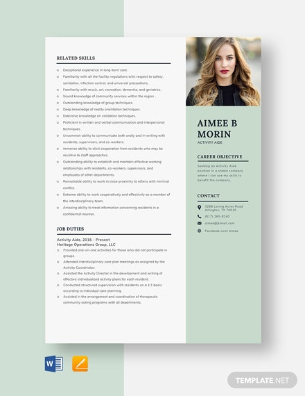 Activity Aide Resume Template