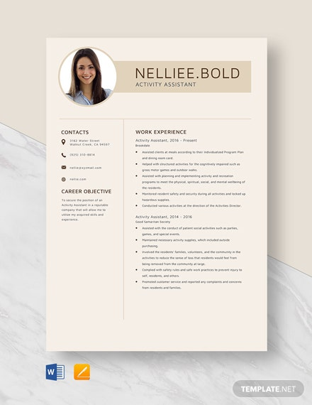 Activity Assistant Resume Template