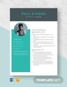 Activity Leader Resume Template