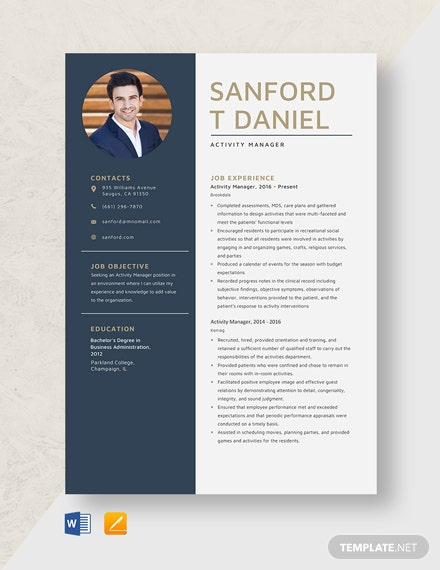 Activity Manager Resume Template
