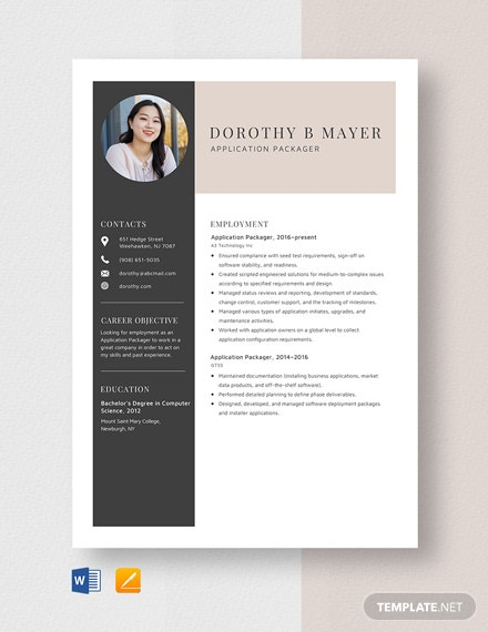 Application Packager Resume Template
