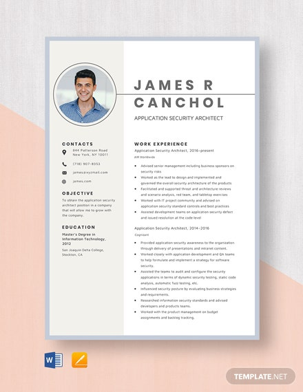 Application Security Architect Resume Template