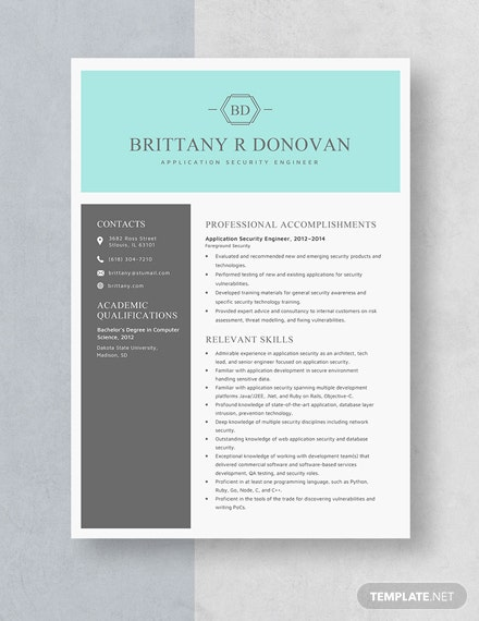 Application Security Engineer Resume Template