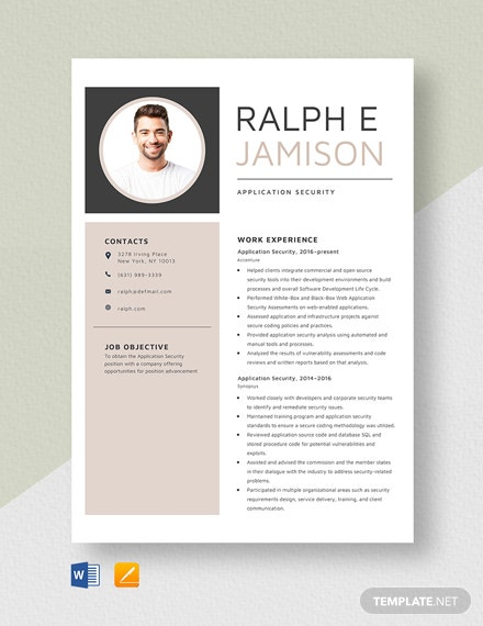 Application Security Resume Template